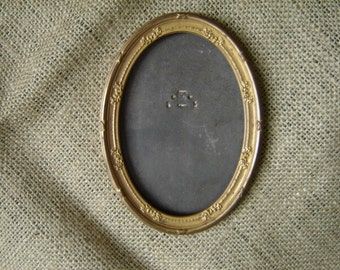 Vintage Oval Metal Ornate Picture Frame 1910s
