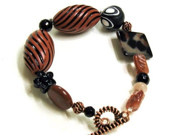Black and Brown Copper Chunky Boho Beaded Clasp Bracelet   For Her Under 90, One of a Kind Free US Shipping Gift Wrap