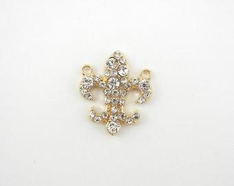 Small Gold-tone Fleur de Lis Double Link Pendant Rhinestones