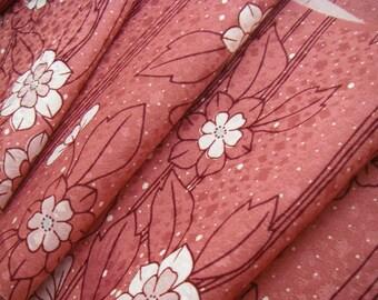 Vintage silk Japanese kimono fabric (pink flower) half width