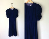 Vintage BLUE VELVET Dress • 1980s Clothing • Classic 1940s Style Midi Calf Length Puff Sleeve Bias Cut Navy Cocktail Gown • Womens Small