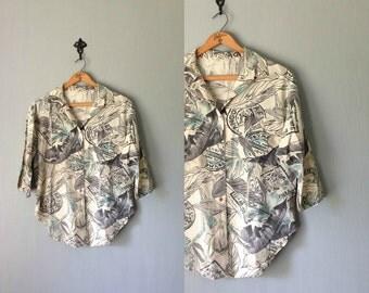 Vintage VACATION Top • 1980s Clothing •Soft Cotton Button Up Shirt 80s Safari Print Adventure Travel Blouse • Womens Unisex Medium Large