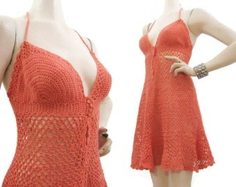 Crochet Dress Vintage 60s Hippie Boho Knit Mini Halter Sundress M