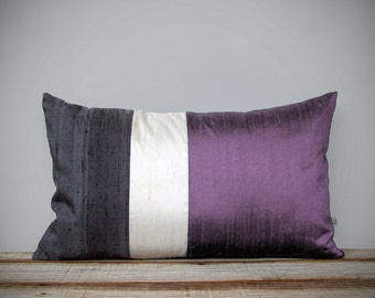 Silk Color Block Pillow (12x20) Radiant Orchid, Cream + Gray by JillianReneDecor | Lavender | Purple | Luxury Gift for Her