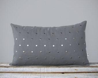 Silver Studded Pillow Cover in Gray Linen (12x20) Modern Home Decor by JillianReneDecor   Polka Dot Pattern   Metallic Studs   Aluminum