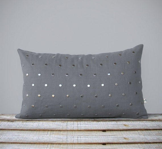 Silver Studded Pillow Cover In Gray Linen 12x20 Modern Home