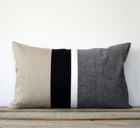 Black And White Chambray Striped Lumbar Pillow By