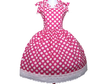 Minnie Pink Dot Polkadot Rockabilly Dress Dots Prom Mad Men Inspired Pin up Bow White dots on Pink
