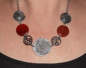 Carnelian necklace, statement necklace, boho necklace, gift, silver link necklce, silver link jewelry, boho chic jewelry, carnelian jewelry