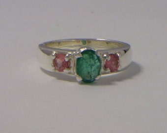 Green Emerald and Pink Tourmaline Handmade Sterling Silver Ladies Ring size 5.25