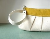 Clutch Wristlet in Cream and Mustard Linen -