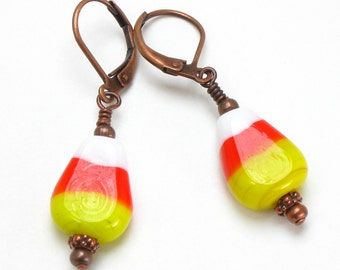 Halloween Earrings, Candy Corn Earrings, Halloween Jewelry, Yellow Orange White Earrings