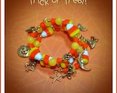 "Halloween Charm Bracelet  ""Trick or Treat"" Hand made, OOAK"