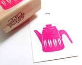 Hand Carved Rubber Stamp, Vintage Kettle