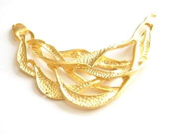 1 pc -Matte 22K Gold Plated Base Necklace Bar- 85x110mm (010-001GP)