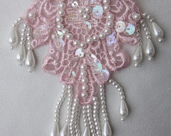 PINK Pearl Sequin Beaded Embroidered Lace Flower Applique Bridal Scrapbook Clothing