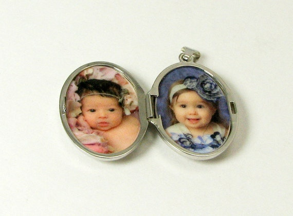 Sterling Silver Scroll Locket, Oval Photo Locket, Holds 2 Photos. - LP11