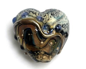 Beige & Ivory Free Style Glass Heart Focal Bead - Handmade Glass Lampwork Bead 11815805