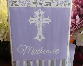 hand painted personalized first communion or christening photo album couture lavendar