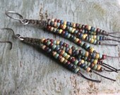 Rustic Autumn Seed Bead Fringe Earrings