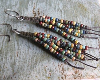 Rustic Autumn Seed Bead Fringe Earrings