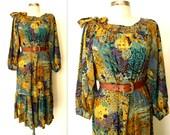 50% off SALE: Leaf Print Dress / Billow Sleeve Dress / Forest Floral