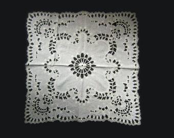 "24"" Italian Renaissance Square Doily White Openwork Linen Back Thennish Vintage"