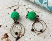 Green Dangle Drop Earrings Brass Vintage 50s Rose Beads and Brass Recycled Upcycled FREE SHIPPING #2015-005