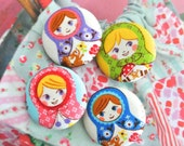 Handmade Kawaii Pink Blue Matryoshk Russian Doll Fabric Covered Buttons, Matryoshk Russian Doll Fridge Magnets, Flat Backs, 1.25 Inches 4's