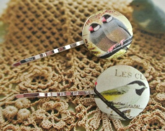 Retro Woodlands Birds Animal Fabric Hair Bobby Pins Clip Barrette, Girl Woman Hair Accessories