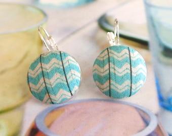 Aqua blue cream Aztec Tribal Ethnic geometric chevron stripes silver ear earrings hoops clips, CHOOSE STYLE