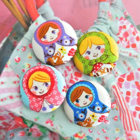 Fabric Buttons, Kawaii Pink Blue Matryoshk Russian Doll Fabric Buttons, Matryoshk Russian Doll Fridge Magnets, Flat Backs, 1.25 Inches 4's