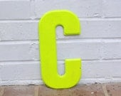 Antique Metal Letter, Yellow C Sign, Chippy Painted Letter, Rustic Home Decor, Shabby Chic Studio Decoration, Vintage Letter