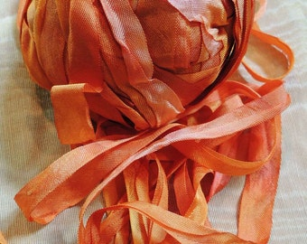 "Hand-dyed vintage rayon tape ""Pumpkin"" 6 yards"
