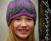 Crochet Hat Pattern - Chevron Hat - EASY -  Toddler and Child Size - PDF pattern