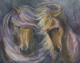 Horse decor, horse gift, friends, print, palomino, friendship, horses, art