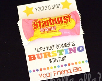 End of year starburst printable class gift