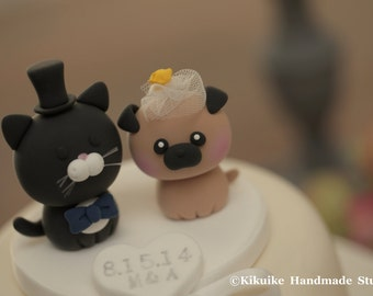Pug and Cat wedding cake topper-----Lovely cat and dog Wedding Cake Topper---k887
