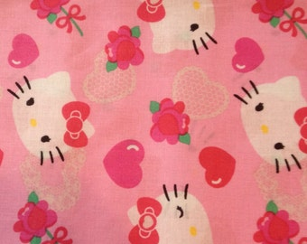 Pink Hello Kitty Heart Fabric By The Yard FBTY