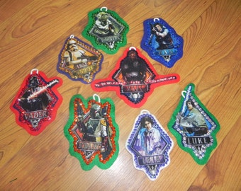 Set of 8 Christmas Ornaments Made With A Star Wars fabric (not a licensed product)