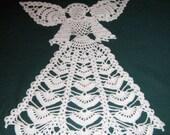 "Crochet Angel Doily, 10 1/2"" wide x 13 tall, Crochet cotton Thread, size 3"