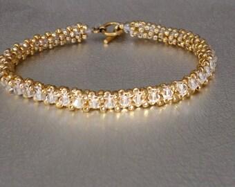 yellow gold crystal beadwork tennis bracelet