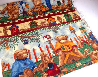 Small Friends Fabric Remnant, Teresa Kogut, Bears, Birdhouse, Hearts, Stars, Crafting, Sewing Projects  (766-13)