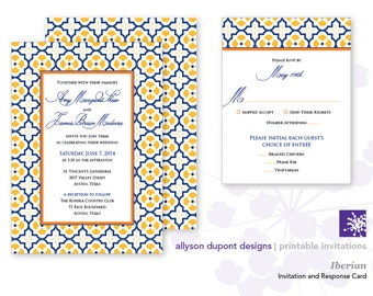Printable Wedding Invitations - Iberian - Spanish Print - Yellow and Blue Quatrefoil - Invitation & Response Card