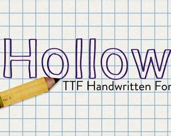 hollow ttf handwritten desktop font