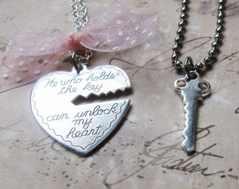 Silver Key to My Heart - Heart and Key Couples Necklace  (R1F4)