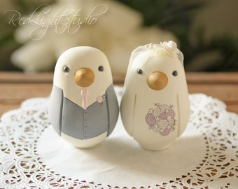 Custom Wedding Cake Topper - Medium Hand Painted Love Birds