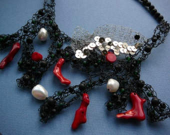 The Great Barrier Reef statement necklace  - red coral, baroque freshwater pearls and artistic wire