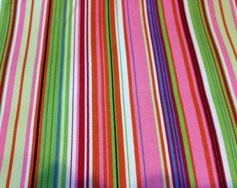 Robert Kaufman fabric | Pink Lime Stripe fabric D3436 | Cotton Twill fabric