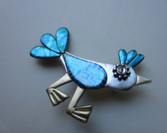 Wacky Bird Pin in teal and silver brooch pin